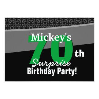 "70th Surprise Birthday Black White Green 001 5"" X 7"" Invitation Card"