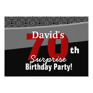 70th Surprise Birthday Black White Red W1922 Card