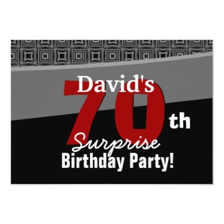 "70th Surprise Birthday Black White Red W1922 5"" X 7"" Invitation Card"