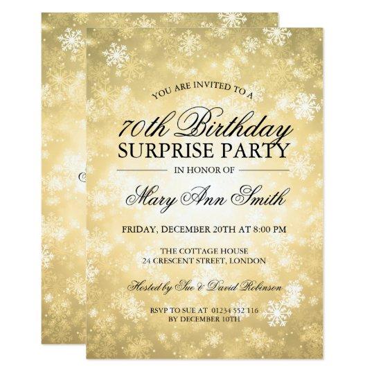 70th Surprise Birthday Gold Winter Wonderland Invitation