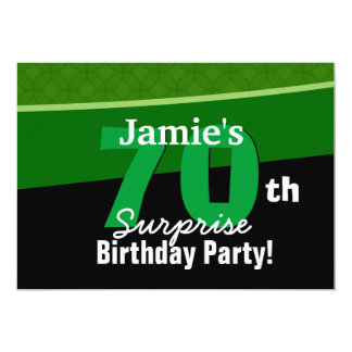 70th Surprise Birthday Green and Black G002 5x7 Paper Invitation Card