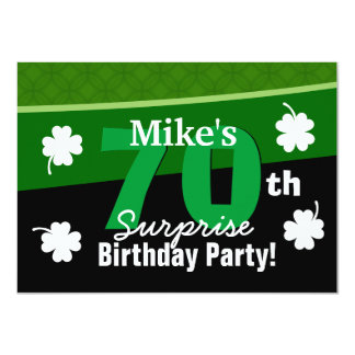 70th Surprise Birthday Green with Shamrocks G002A Card