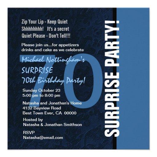 70th SURPRISE Birthday Modern Midnight Blue W102 Personalized Invites