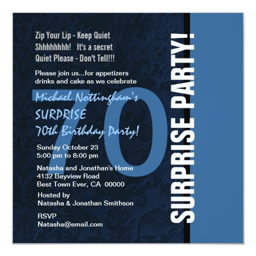 70th SURPRISE Birthday Modern Midnight Blue W102 Invitation