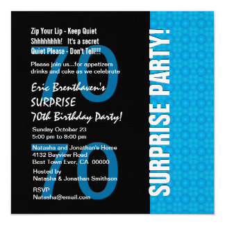 70th Surprise Birthday Modern Turquoise Blue V103 Card