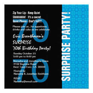 70th Surprise Birthday Modern Turquoise Blue V103 Invitations