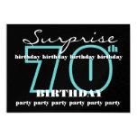 70th SURPRISE Birthday Party Aqua Black Metallic 5x7 Paper Invitation Card