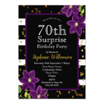 70th Surprise Birthday Party  Black and Gold Invitation