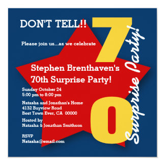 70th SURPRISE Birthday Party BLUE RED Star S17 5.25x5.25 Square Paper Invitation Card