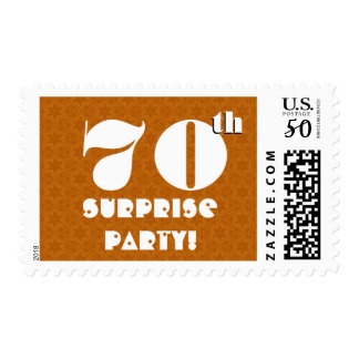70th Surprise Birthday Party Gold and White W1268 Postage