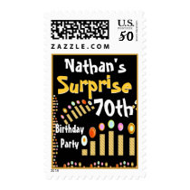 70th SURPRISE Birthday Party Gold Candles Stamp