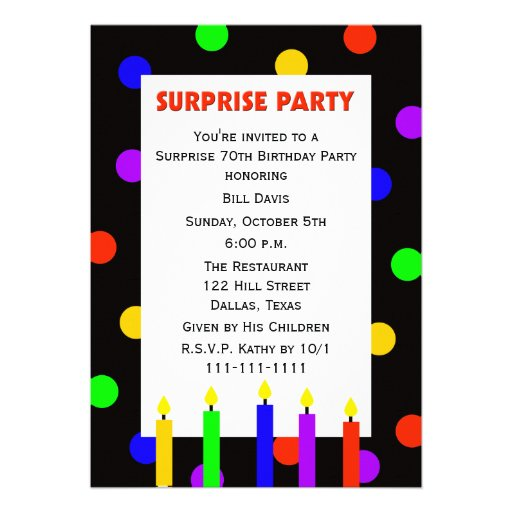 70th Surprise Birthday Party Invitation -- Dots
