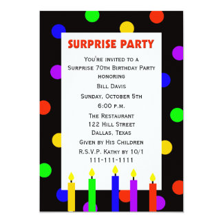 70th Surprise Birthday Party Invitation Dots