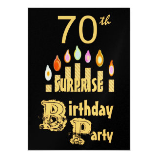 70th SURPRISE Birthday Party Invitation - GOLD