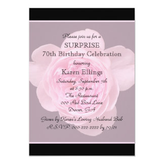 70th Surprise Birthday Party Invitation Rose Personalized Announcements