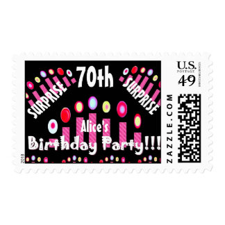 70th SURPRISE BIrthday Party Pink Candles V06 Postage