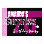 70th Surprise Birthday Party Pink Pattern Template Cards