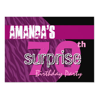 70th Surprise Birthday Party Pink Zebra Template Card