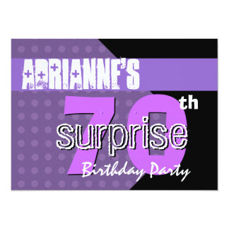 70th Surprise Birthday Party Purple Polka Dots Card