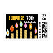 70th SURPRISE Birthday Party Stamp - GOLD Candles