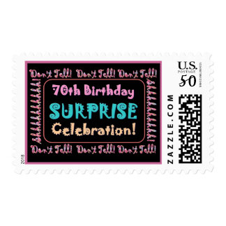 70th SURPRISE Birthday Party Stamp - Pink Candles