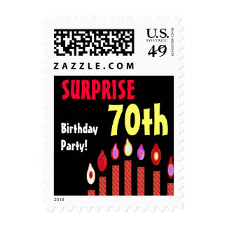 70th SURPRISE Birthday Party Stamp - Red Candles