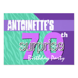 70th Surprise Birthday Party Teal Purple Zebra V01 Card