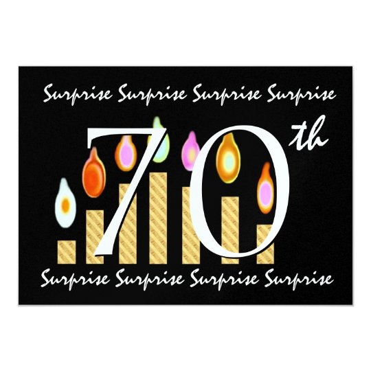 70th SURPRISE Birthday Party Template Metallic Card