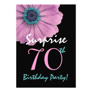 70th Surprise Birthday Pretty Pink Daisy Custom Invite