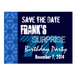 70th Surprise Birthday Save the Date Blue Pattern Postcards
