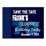 70th Surprise Birthday Save the Date Blue Pattern Post Cards