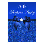 70th Surprise Party Royal Blue Sequins and Bow 5x7 Paper Invitation Card