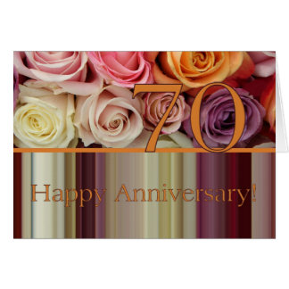 70th Wedding Anniversary Card -Pastel roses stripe
