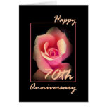 70th Wedding Anniversary Card with Pink Rosebud