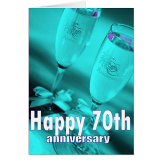 70th wedding anniversary champagne celebration card
