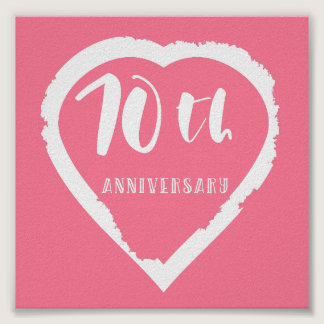 70th wedding anniversary heart poster