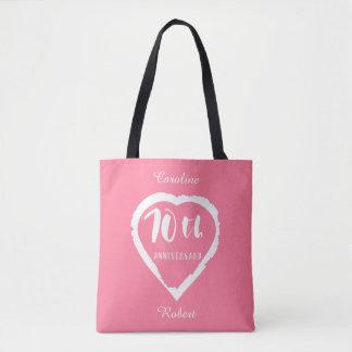 70th wedding anniversary heart tote bag