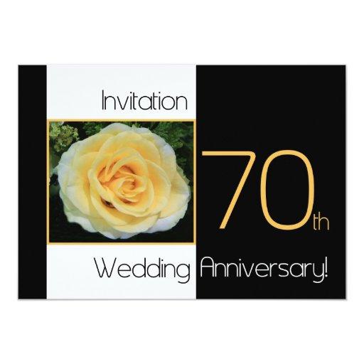 70th wedding anniversary invitation yellow rose zazzle for 70 s wedding invitations