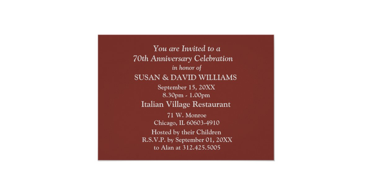 70th wedding anniversary party invitations zazzle for 70 s wedding invitations