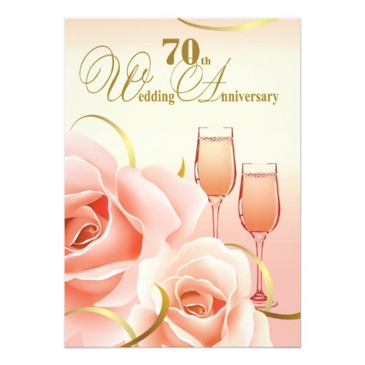 70th Wedding Anniversary Party Invitations 5 X 7 Invitation Card
