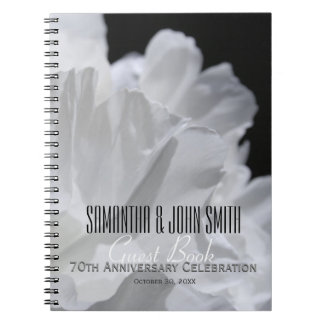 70th Wedding Anniversary Party Peony GuestBook 2 Notebook