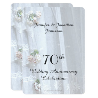 70th Wedding Anniversary Party, Vintage Lace Card