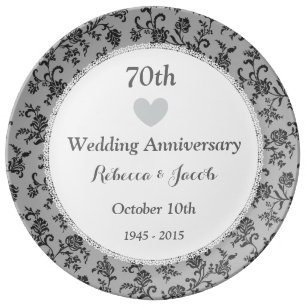 70th Wedding Anniversary Platinum Damask W70a Dinner Plate