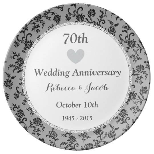 70th Wedding Anniversary Gift: 70th Wedding Anniversary PLATINUM Damask W70A Dinner Plate