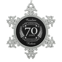 70th Wedding ANNIVERSARY PLATINUM Snowflake Pewter Christmas Ornament