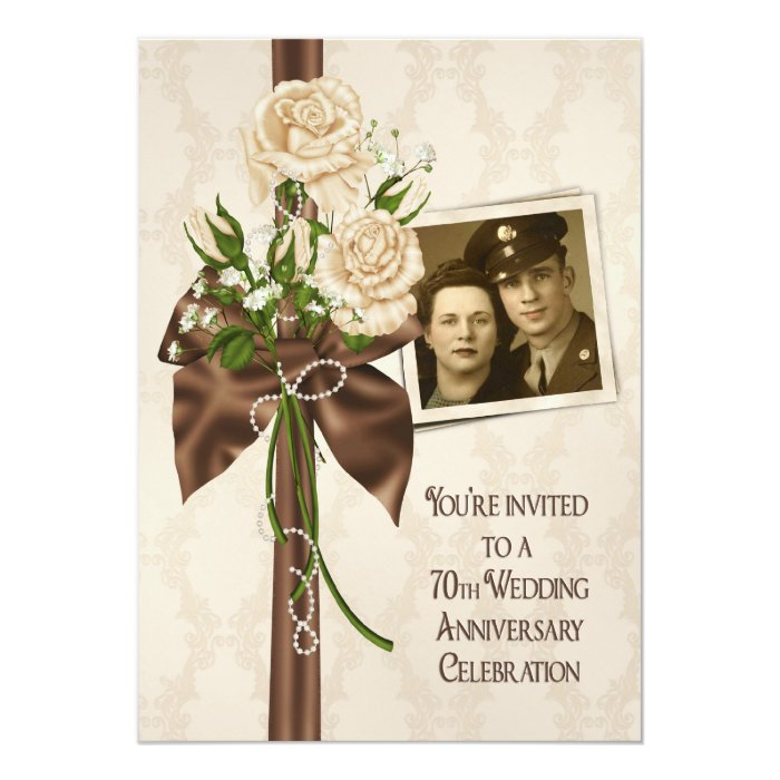 70th Wedding Anniversary Gift: 70th Wedding Anniversary Roses Card