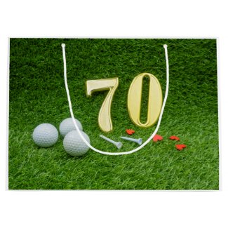 70th with golf ball and tee on green large gift bag