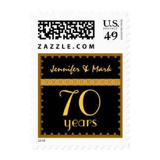 70th Year Anniversary - Black and Gold Lace Stamp