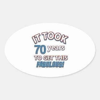 70th year birthday designs oval sticker