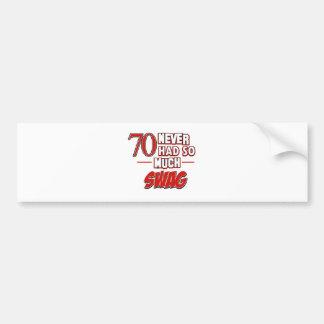 70th year old birthday designs bumper stickers